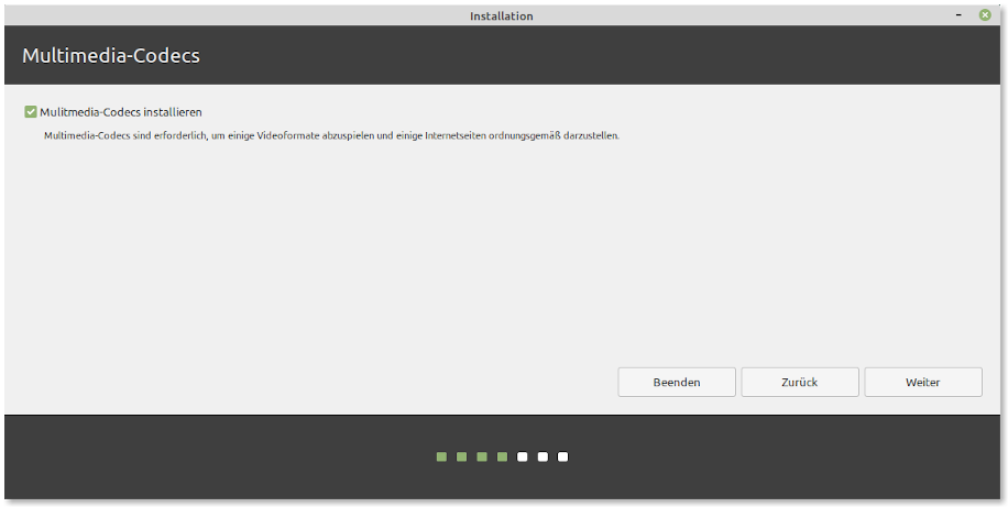 Screenshot: Linux Mint Installer 1