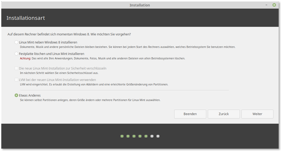 Screenshot: Linux Mint Installer 2