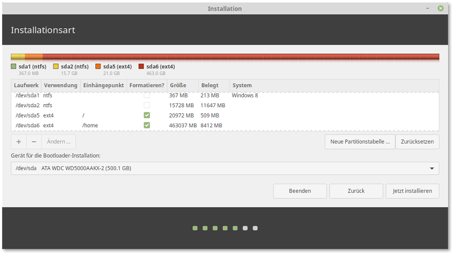 Screenshot: Linux Mint Installer 3
