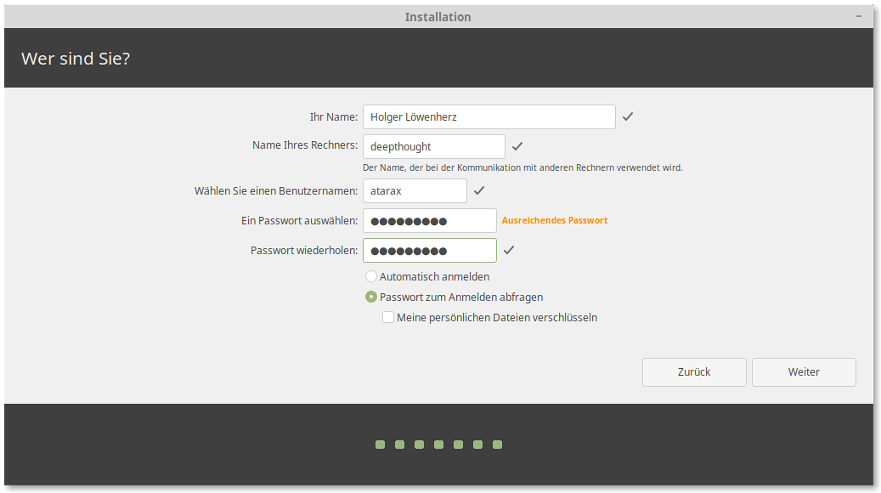 Screenshot: Linux Mint Installer 7