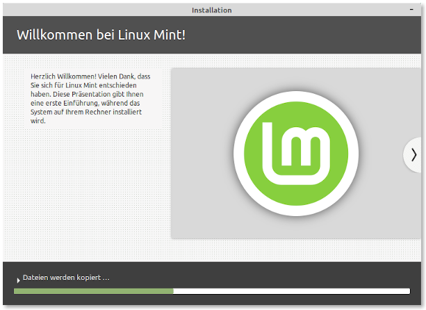 Screenshot: Linux Mint Installer 8